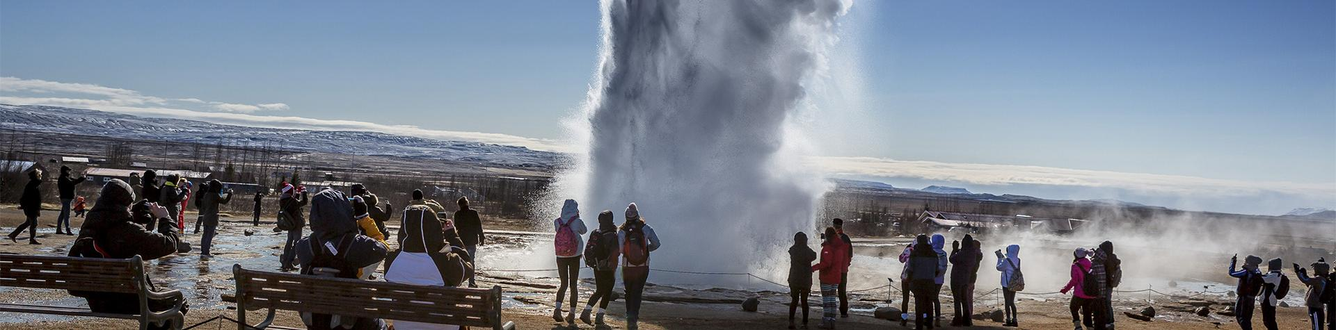 Iceland guided tours: Strokkur erupting, geothermal area Haukadalur Valley, South Iceland