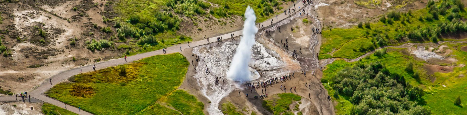 Geysir from the above, Iceland.