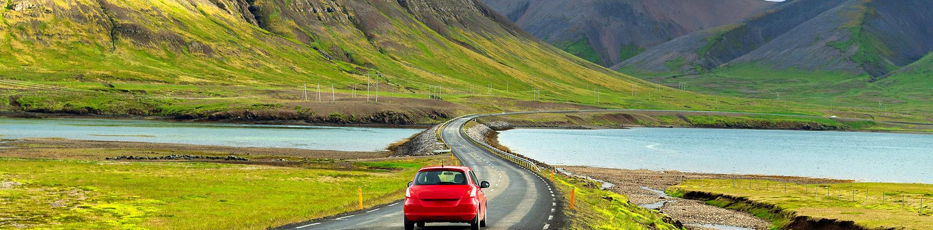 Iceland Self Drive Tours: Driving rental car in the Iceland.