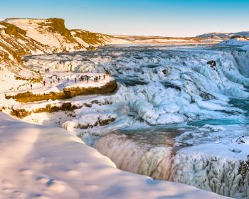 Waterfall Gullfoss in winter, Iceland.