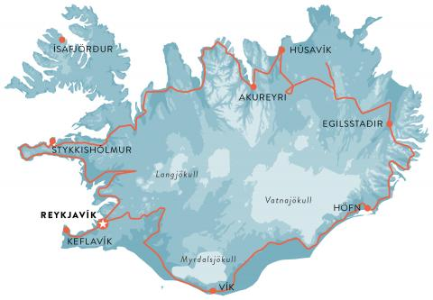 Map of Iceland full circle with Snaefellsnes, self drive tour around Iceland in 11 days.