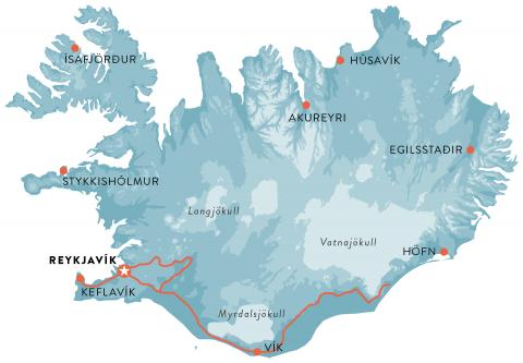 Map - Travel in southern Iceland and Reykjavik