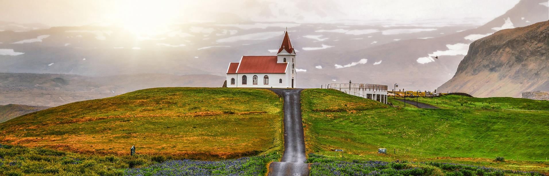 Self drive tour west Iceland: icelandic church, Flatey island, west of Iceland.
